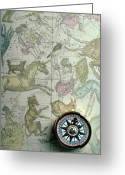 Compass Greeting Cards - Star Map And Compass Greeting Card by Garry Gay
