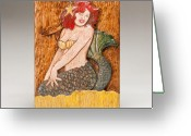 American Reliefs Greeting Cards - Star Mermaid Greeting Card by James Neill