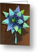 Star Sculpture Greeting Cards - Star Sea Urchin Kusadama Blue Greeting Card by Debbie Fimrite