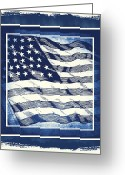 Cave Mixed Media Greeting Cards - Star Spangled Banner Blue Greeting Card by Angelina Vick