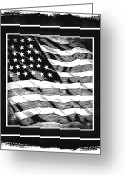 Cave Mixed Media Greeting Cards - Star Spangled Banner BW Greeting Card by Angelina Vick