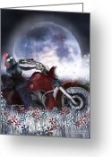Motorcycle Art Greeting Cards - Star Spangled Biker Greeting Card by Carol Cavalaris