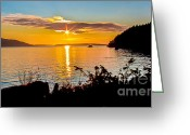 Bay Islands Greeting Cards - Star Sunset Greeting Card by Robert Bales