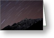 Colour Image Greeting Cards - Star Trails Above Himal Chuli Created Greeting Card by Alex Treadway