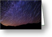 Meteor Photo Greeting Cards - Star Trails and Meteor over Vermont Mountains Photo Greeting Card by Stephanie McDowell