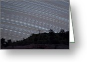 Black Mesa Greeting Cards - Star Trails Arch Over A Cross On A Hill Greeting Card by John Davis