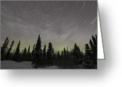Trailing Greeting Cards - Star Trails, Milky Way And Green Aurora Greeting Card by Yuichi Takasaka