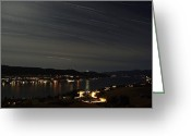 Trailing Greeting Cards - Star Trails Over Okanagan Lake, Vernon Greeting Card by Yuichi Takasaka