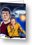 Starship Enterprise  Greeting Cards - Star Trek Greeting Card by Dave Olsen