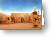 George Lucas Greeting Cards - Star Wars Film Set Tatooine Tunisia Greeting Card by Michael Greenaway