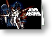 Luke Skywalker Greeting Cards - Star Wars Movie Poster Greeting Card by George Pedro