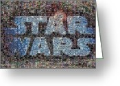 Star Mixed Media Greeting Cards - Star Wars Posters Mosaic Greeting Card by Paul Van Scott
