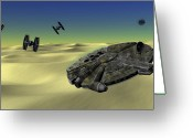 George Lucas Greeting Cards - Star Wars Tatooine  Greeting Card by Michael Greenaway