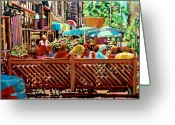 Montreal Summer Scenes Greeting Cards - Starbucks Cafe On Monkland Montreal Cityscene Greeting Card by Carole Spandau