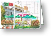 Wilshire Blvd. Greeting Cards - Starbucks-Coffee-in-Wilshire-Blvd-Los Angeles-CA Greeting Card by Carlos G Groppa