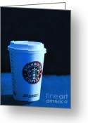 Latte Digital Art Greeting Cards - Starbucks Coffee - Painterly - Blue Greeting Card by Wingsdomain Art and Photography