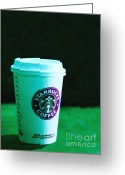 Latte Digital Art Greeting Cards - Starbucks Coffee - Painterly - Green Greeting Card by Wingsdomain Art and Photography