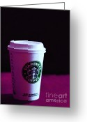 Latte Digital Art Greeting Cards - Starbucks Coffee - Painterly - Violet Greeting Card by Wingsdomain Art and Photography