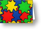 Chic Painting Greeting Cards - Starburst Greeting Card by Oliver Johnston
