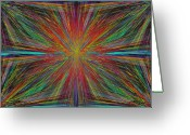 Sun Abstract Digital Art Greeting Cards - Starburst Greeting Card by Tim Allen