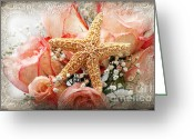 Rosy Greeting Cards - Starfish And Pink Roses Greeting Card by Andee Photography