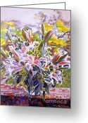 Stargazer Lilies Greeting Cards - Stargazer Lilies In Glass Bowl Greeting Card by David Lloyd Glover