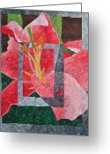 Wall Quilt Tapestries - Textiles Greeting Cards - Stargazer Lilly Greeting Card by Patty Caldwell