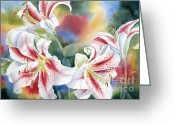 Stargazer Lilies Greeting Cards - Stargazers Greeting Card by Deborah Ronglien