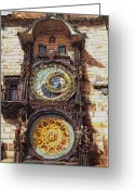 Prague Pastels Greeting Cards - Staromestsky orloj Greeting Card by Gordana Dokic Segedin