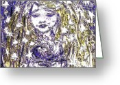 Elegant Greeting Cards - Starry Mother Greeting Card by Navo Art