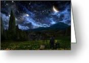 Starry Digital Art Greeting Cards - Starry Night Greeting Card by Alex Ruiz