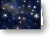 Starry Digital Art Greeting Cards - Starry Night Greeting Card by Clayton Bruster