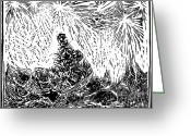 Exploration Drawings Greeting Cards - Starry Night Greeting Card by Dariusz Gudowicz