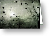 Blackbirds Greeting Cards - Starry Night Greeting Card by Gothicolors With Crows