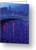 Orange Greeting Cards - Starry Night In Dublin Greeting Card by John  Nolan