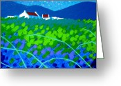 Green Field Painting Greeting Cards - Starry Night In Wicklow Greeting Card by John  Nolan