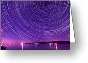 Photograph Digital Art Greeting Cards - Starry night of Cayuga Lake Greeting Card by Mingqi Ge