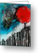Tree Prints Greeting Cards - Starry Night Red Tree Abstract Landscape Greeting Card by Sharon Cummings