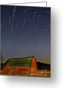 Star Barn Greeting Cards - Starry Night Greeting Card by Susan Candelario