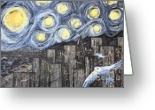 Surreal Art Painting Greeting Cards - Starry Nights in San Francisco 1985 Greeting Card by Wingsdomain Art and Photography