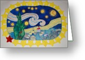 Felted Tapestries - Textiles Greeting Cards - Starry starry night over Oswego NY Greeting Card by Catherine ONeil