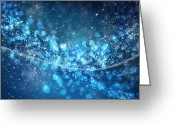 Black Greeting Cards - Stars And Bokeh Greeting Card by Setsiri Silapasuwanchai
