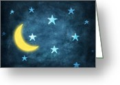 Dark Gray Blue Greeting Cards - Stars And Moon Drawing With Chalk Greeting Card by Setsiri Silapasuwanchai