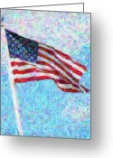 Impressionist Mixed Media Greeting Cards - Stars and Stripes Greeting Card by Colleen Kammerer