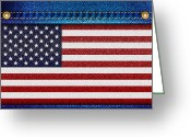 Rivet Greeting Cards - Stars and Stripes denim Greeting Card by Jane Rix