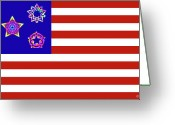 Chromatic Greeting Cards - Stars and Stripes of RetroCollage Greeting Card by Eric Edelman
