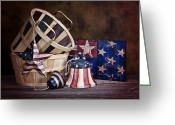 Plaque Greeting Cards - Stars and Stripes Still Life Greeting Card by Tom Mc Nemar
