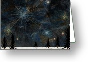 Illustration Technique Digital Art Greeting Cards - Stars Glistening In The Sky Above Pine Trees And Snow On The Ground Greeting Card by Jutta Kuss
