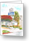 Vertical Painting Greeting Cards - Stars-Inn-Motel-Century-City-CA Greeting Card by Carlos G Groppa