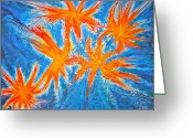 Orange Reliefs Greeting Cards - Stars Greeting Card by Marie Halter